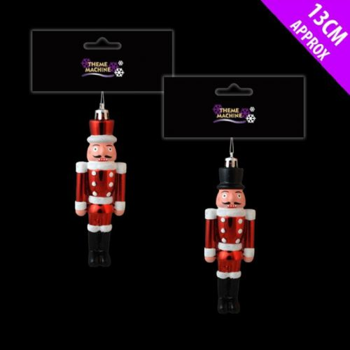 Nutcrackers Christmas Tree Decorations 13cm Little Toy Solder Red/Black or Pair